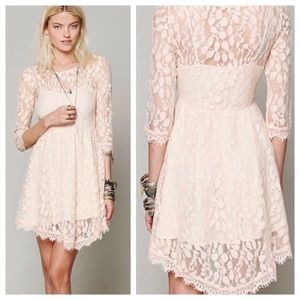 Free People Peach Floral Lace Dress 8